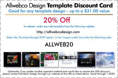 allwebco web template promotional discount codes