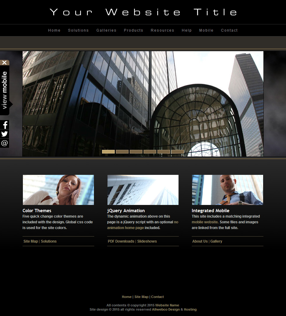 a04 photography black website template with mobile sub website