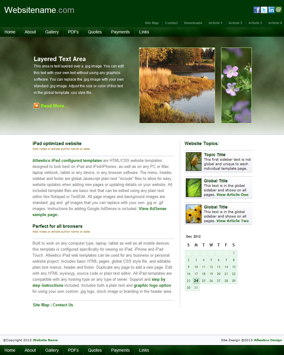 iEarth Mobile Friendly Web Templates Sample Image