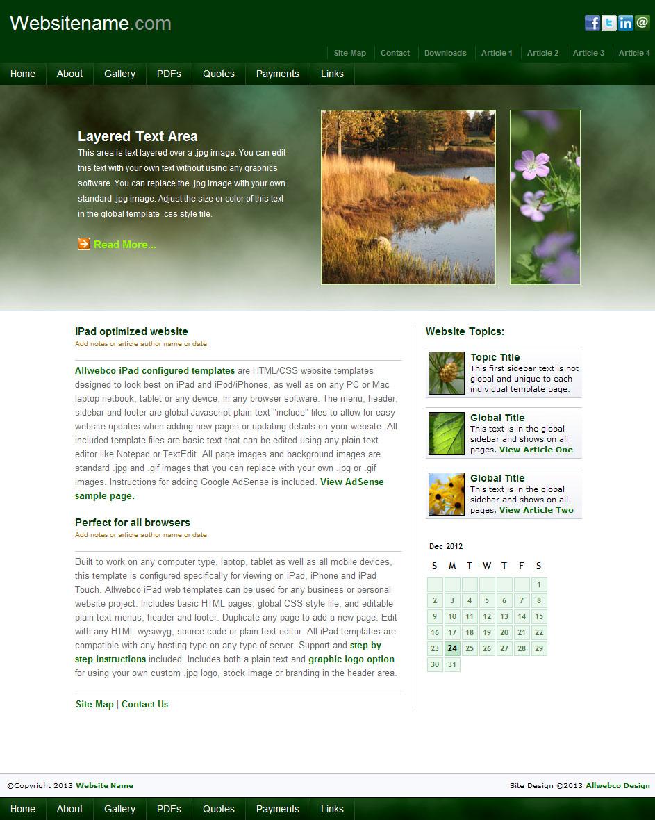 Iearth Mobile Friendly Web Templates Sample Image