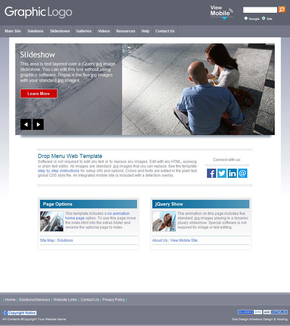 HTML5 Gray Theme Drop Menus Sample With Mobile Version