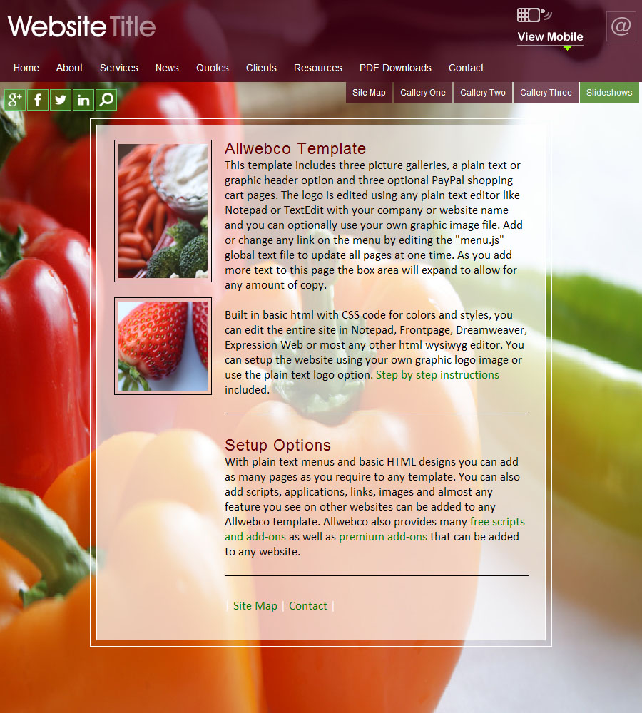 website templates cookbook sample