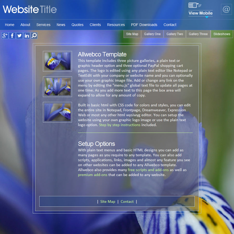 Web Design Template Lotus HTML5 With Mobile / CSS Flower Theme