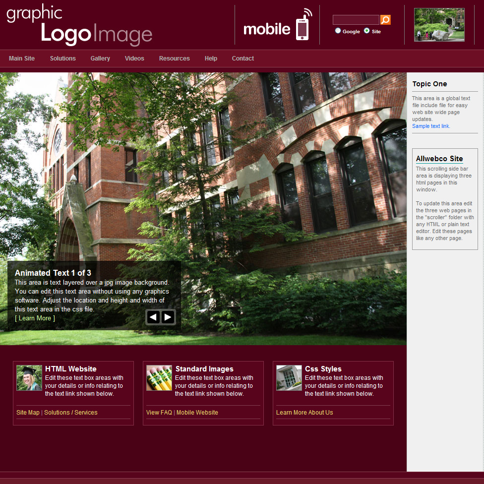 Web templates academic burgundy go back html5 webpage templates pronofoot35fo Image collections