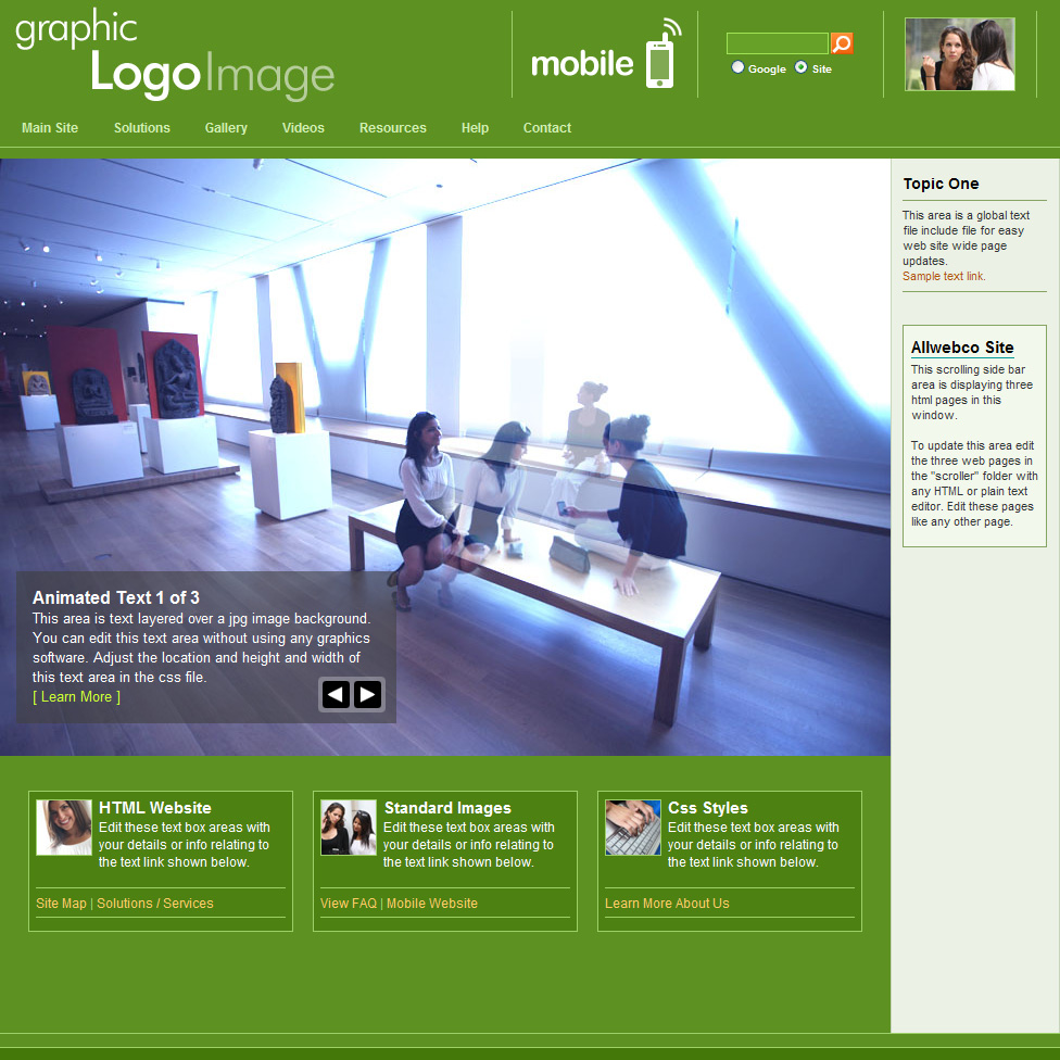 Green Start Web Page Site Map: Web Template With Mobile Version