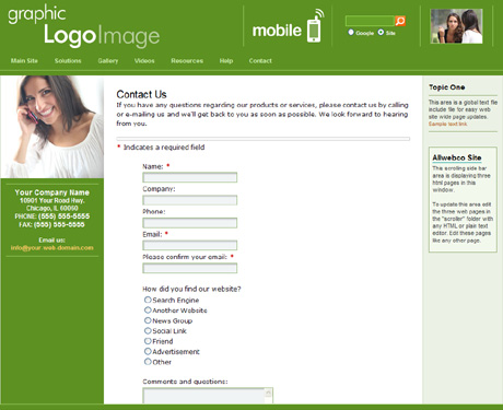 sample web forms templates